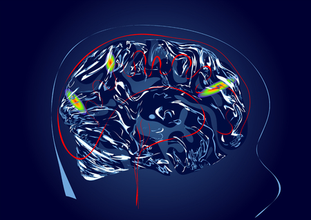 A brain scan abstract illustration. Magnetic resonance imaging of the brain