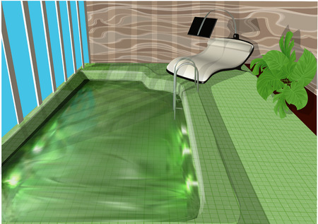 Indoor swimming pool with bed and plant illustration