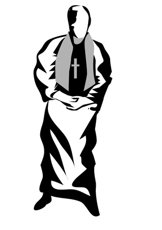 Vicar abstract silhouette isolated on white background