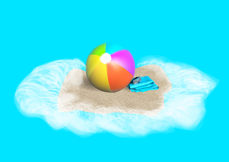 beach ball, towels and mask on sand Vector illustration. Illustration