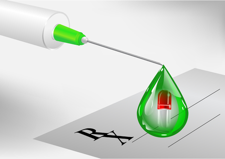 Syringe and droplet with pill concept vector illustration design Illustration