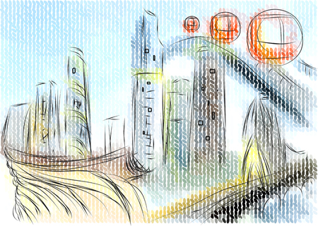 Guangzhou abstract illustration on multicolor backgroun Illustration