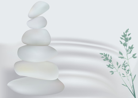 Stones near the water, relaxation concept vector illustration Ilustrace