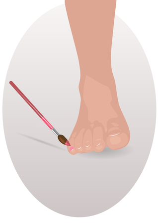 pedicure. brush paints the nail on the female foot