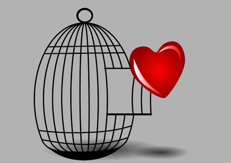 Heart and cage on gray background.