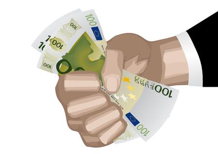 Hand holding money isolated on white background