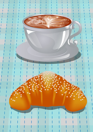 Coffee art and croissants at the checkered napkin