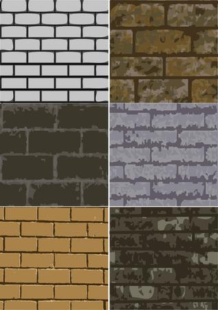 6 개의 다른 추상 벽돌 질감의 집합