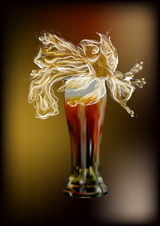 beer foam as fish. glass of beer on dark background Çizim