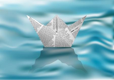 paper boat on water. White paper boat in the blue waves Ilustração