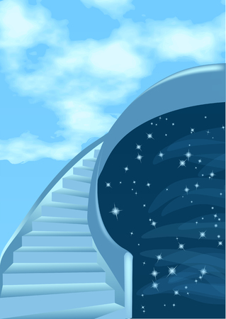 Stairway to the sky. Abstract background with clouds and stars