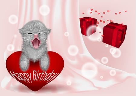 birthday backgroun with funny cat and hearts