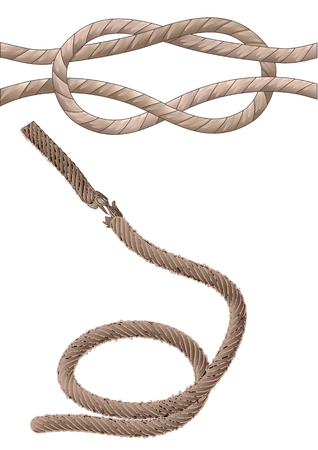 two old rope isolated on the white background