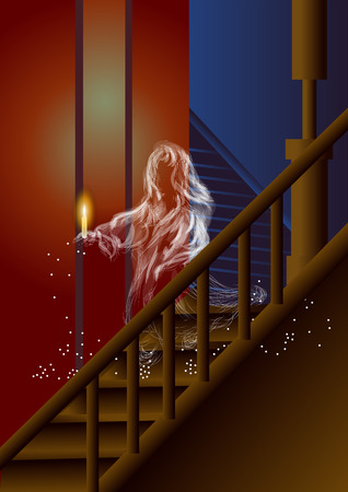 ghost of girl with candle descends the stairs