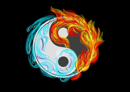 Yin and Yang symbol with water and fire Illustration