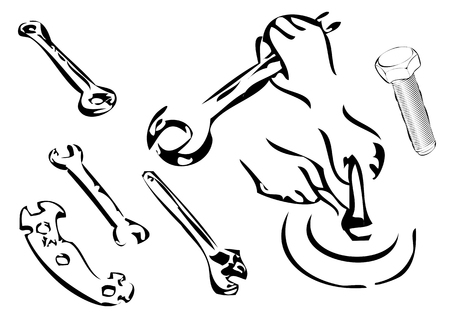 Bolt and wrenches isolated on white background