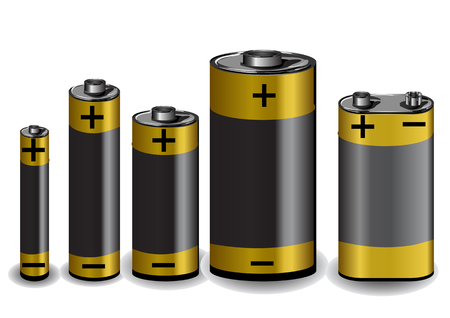 set of batteries isolated on the white background