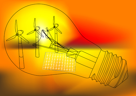 alternative energy concept with lamp and power generator 向量圖像