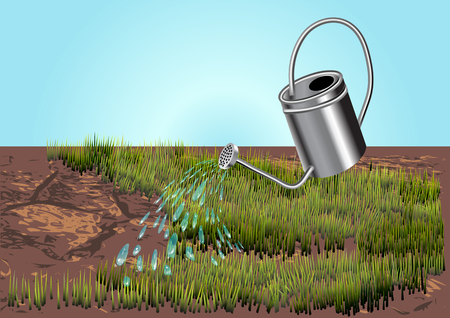 watering can with land, water drops, grass