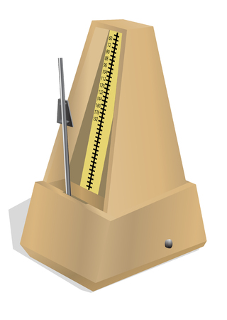 antique metronome isolated on the white background