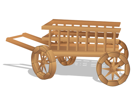 rustic cart isolated on the white background