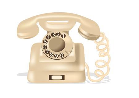 Téléphone à cadran rotatif isolé sur fond blanc Vecteurs