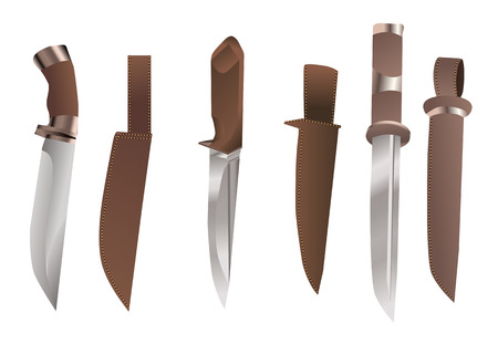 hunting knives with sheath isolated on white