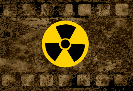 iradiationsign sign on brown. nfluence of radiation concept