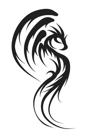 dragon silhouette isolated on a white background Vektoros illusztráció
