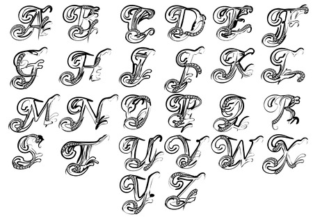 letters for monogram and initials isolated on white Ilustracja