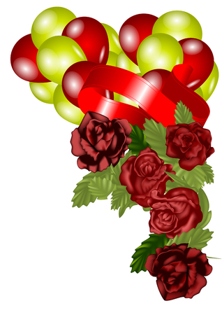 congratulatory background. roses and balloons on white