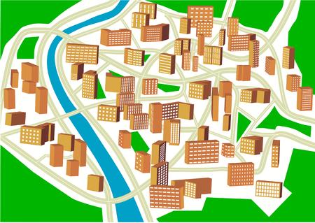 abstract town plan. Plan of a nonexistent city Standard-Bild - 114105565