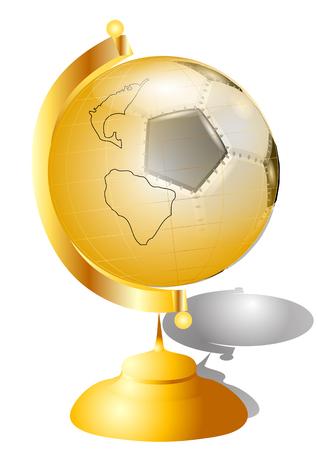 golden football globe isolated on wghite background