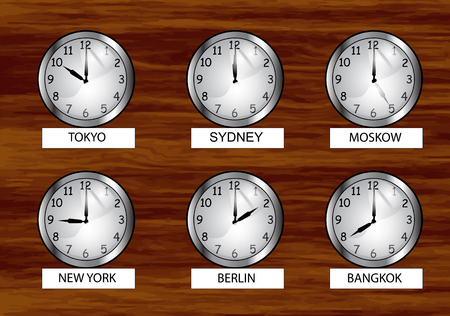 el reloj mundial. Reloj de diferentes zonas horarias en la pared de madera.