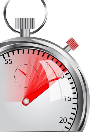 stopwatch in de beweging op wit wordt geïsoleerd