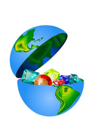 Schätze der Erde. Edelsteine im offenen Globus