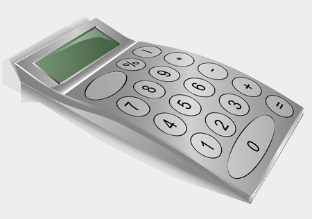 calculator on grey. nonexistent calculator isolated on a gray background Illustration