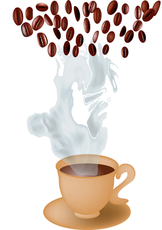 cup of coffee and coffee beans. 10 EPS