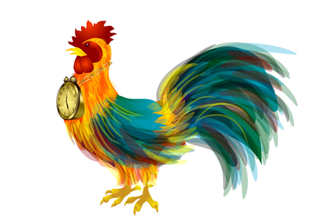 Cock and alarm clock isolated on white