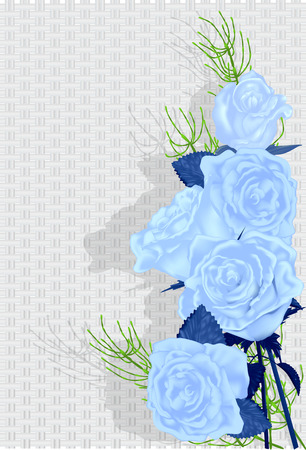 background with blue rose and blue beads