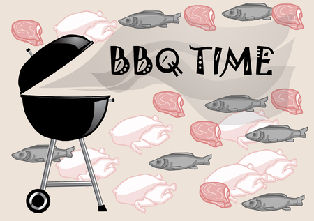 barbecue time. abstract background with meat, fish and chicken