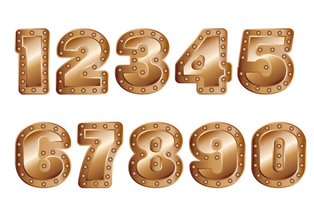 copper colored numbers isolated on white background Reklamní fotografie - 124649108