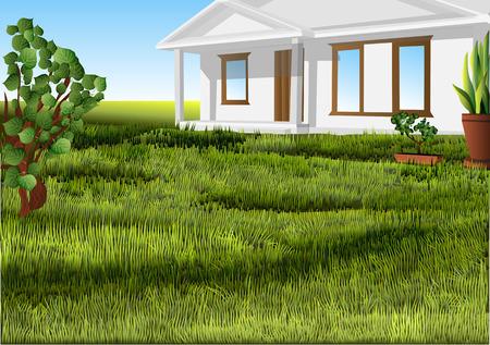 white house on a green lawn. 10 EPS Illusztráció