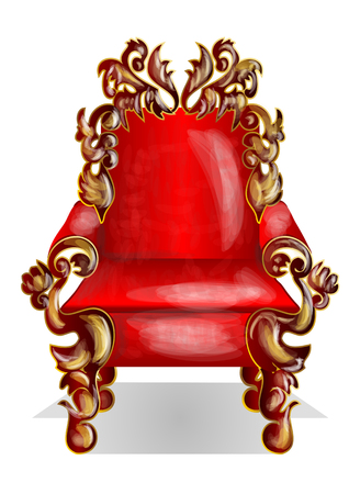 red throne isolated on the white background Çizim
