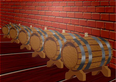 dark cellar with wine wooden barrels. vector illustration