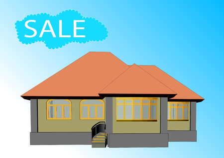 House for sale concept with blue sky background