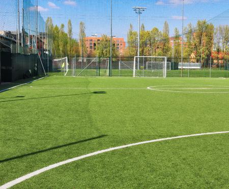 Mini football field and blue sky