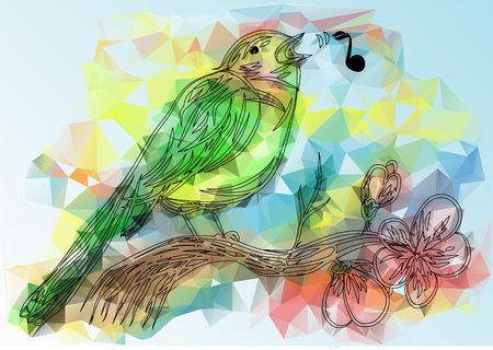 songbird and note. abstract bird on a multicolor background Фото со стока - 123825268