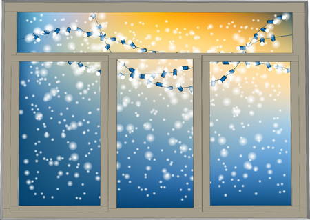 Winter window. frosted window with christmas light