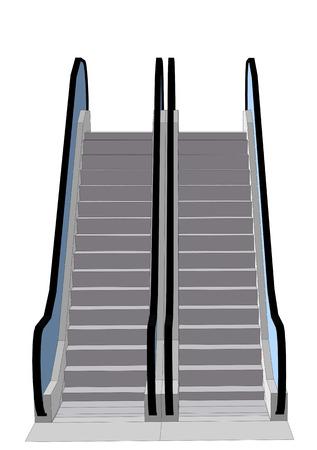 escalator. starcase isolated on a white background Ilustração